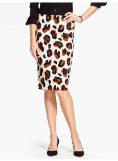 Abstract Animal-Print Pencil Skirt