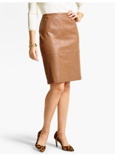 Stretch Leather Pencil Skirt