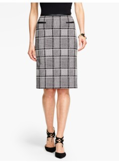 Geo-Plaid Pencil Skirt