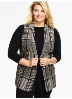Notched-Collar Vest-Geo Plaid