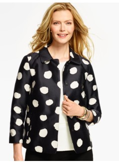 Painted-Dot Jacquard Jacket