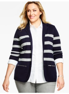 Sweater Blazer- Preppy Stripes