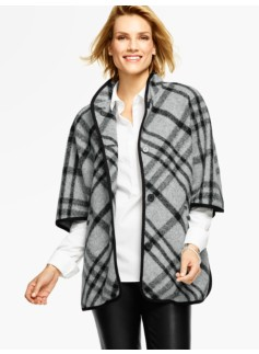 Stand-Collar Cape-London Plaid