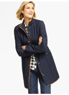 Quilted Coat-Faux-Suede Trimmed