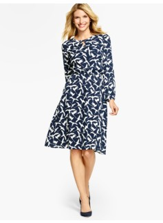 Swallow-Print Full Dress