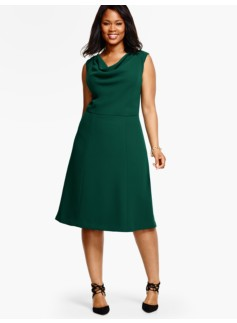 Refined Crepe Drape-Neck Dress
