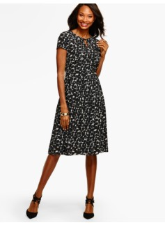Dot-Clusters Pleated Dress