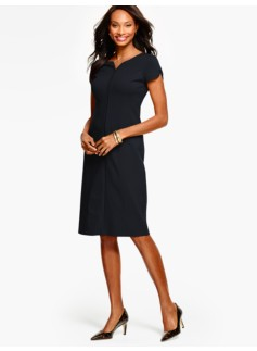 Ponte Tulip-Sleeve Sheath Dress-Solid