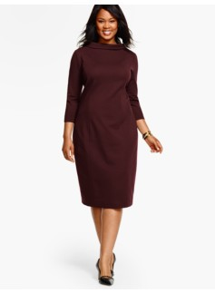 Portrait-Collar Ponte Dress