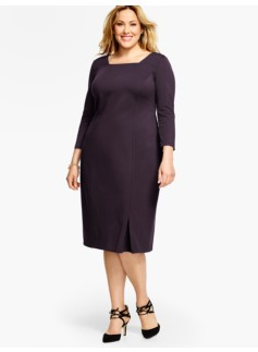 Ponte Square-Neck Sheath Dress