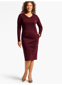V-Neck Ponte Sheath Dress