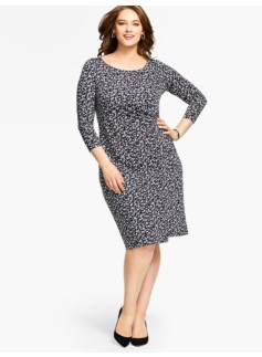 Bella Brushstroke-Dots Side-Drape Sheath Dress