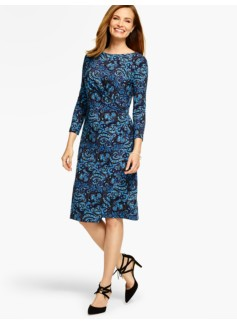 Bella Side-Drape Dress-Paisley