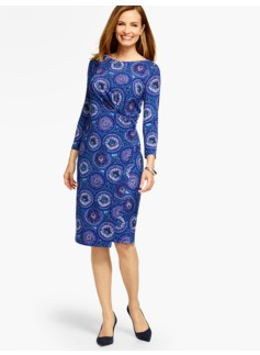 Bella Side-Drape Dress-Paisley-Circles