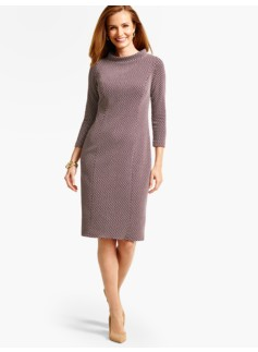 Portrait-Collar Star Jacquard Sheath Dress