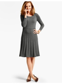 Merino Wool Pleated Sweater Dress