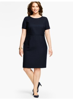 Womans Vintage Dot-Jacquard Sheath Dress