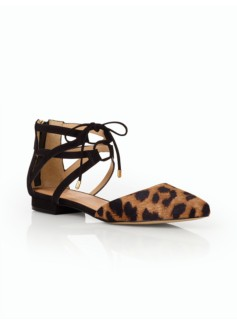 Edison Ankle-Tie Flats- Leopard Haircalf