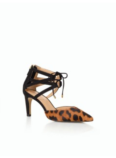 Eri Ankle-Tie Pumps- Leopard Haircalf