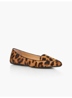 Francesca Driving Flats - Leopard Haircalf