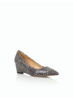Whitney Wedge Heels- Animal-Print Croc-Embossed Leather