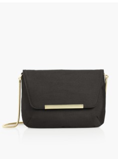 Doupioni Envelope Shoulder Bag - Black