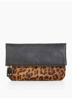 Haircalf & Leather Foldover Clutch