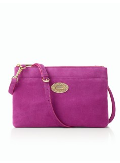 Turnlock Crossbody Bag - Suede
