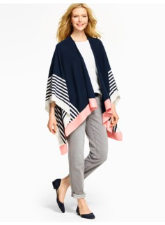 Stripes Colorblocked Wrap Ruana