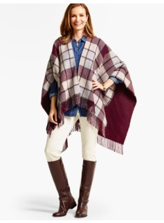 Fringed Plaid Double-Face Wrap