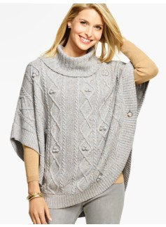Aran-Stitched Cowlneck Poncho-Ash Heather