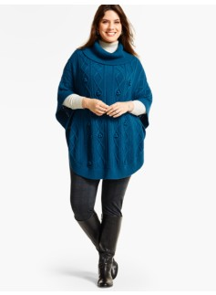 Womans Aran-Stitched Cowlneck Poncho