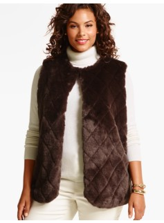 Woman Quilted Faux-Fur Vest