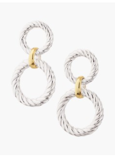 Sterling Silver Textured Link Drop Earrings