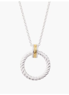 Sterling Silver Rope Circle-Ring Necklace
