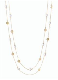 Layered Bead & Disc Necklace