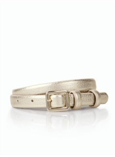 Leather Skinny Belt - Metallic