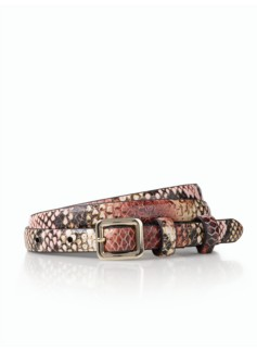 Leather Skinny Belt - Lizard