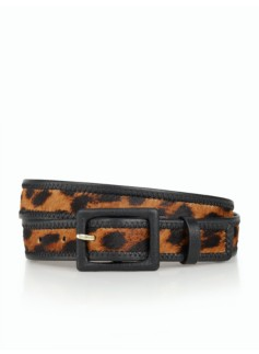Womans Square-Buckle Belt - Leopard Haircalf