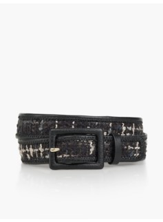 Womans Bouclé Pebbled Leather Square-Buckle Belt