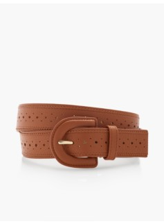 Womans Pebbled Leather Spectator Belt - Luggage