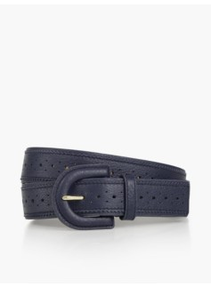 Woman Pebbled Leather Spectator Belt - Indigo Blue