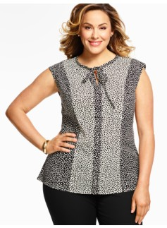 Blocked Animal-Print Blouse