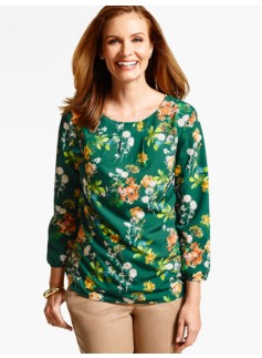 Delicate Flowers Pleat-Top Blouse