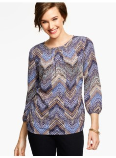 Herringbone Pleat-Top Blouse