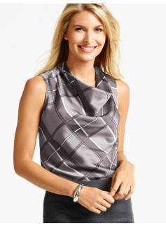Plaid Drapeneck Top