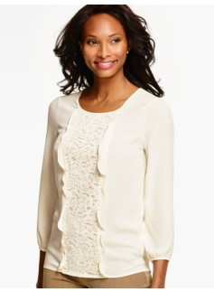 Flower Lace-Front Blouse