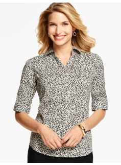 The Perfect Elbow-Sleeve Shirt-Animal Print