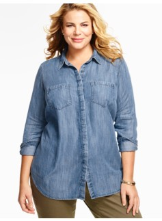 Long Slit-Back Denim Shirt-Isle Blue Wash