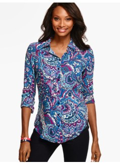Long Drapey Shirt -Stained Glass Paisley